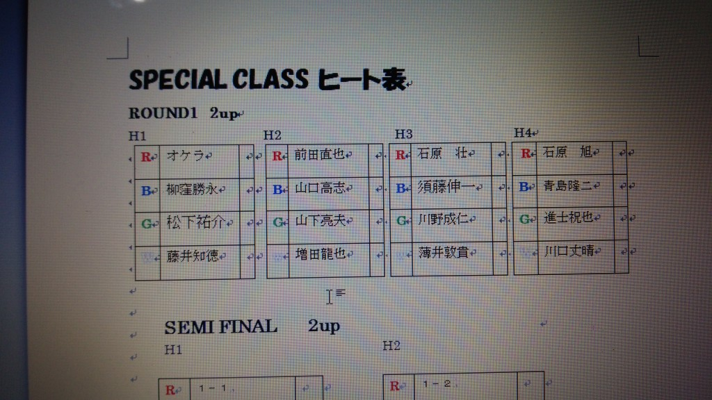 SPECIALクラス ヒート表